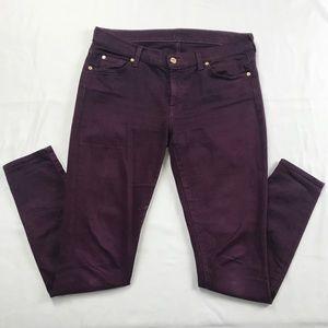 7FAM Deep Plum Wine Purple The Skinny Jeans Sz 32